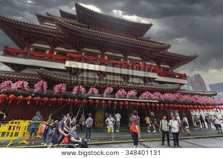 Singapore. January 2020.  The External View Of The Buddha Tooth Relic Temple
