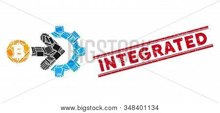 Mosaic Bitcoin Integration Gear Icon And Red Integrated Watermark Between Double Parallel Lines. Fla