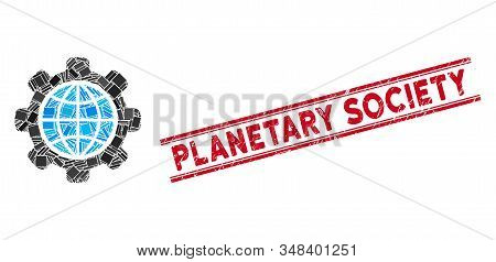 Mosaic Global Options Pictogram And Red Planetary Society Seal Between Double Parallel Lines. Flat V