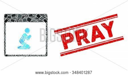 Mosaic Pray Person Calendar Page Pictogram And Red Pray Seal Stamp Between Double Parallel Lines. Fl