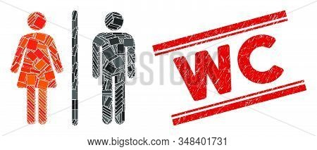 Mosaic Wc Pictogram And Red Wc Stamp Between Double Parallel Lines. Flat Vector Wc Mosaic Pictogram