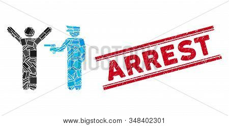 Mosaic Police Arrest Icon And Red Arrest Seal Between Double Parallel Lines. Flat Vector Police Arre