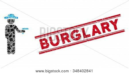 Mosaic Gentleman Robber Pictogram And Red Burglary Stamp Between Double Parallel Lines. Flat Vector