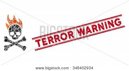 Mosaic Death Fire Icon And Red Terror Warning Rubber Print Between Double Parallel Lines. Flat Vecto
