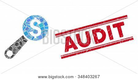 Mosaic Financial Audit Magnifier Icon And Red Audit Stamp Between Double Parallel Lines. Flat Vector