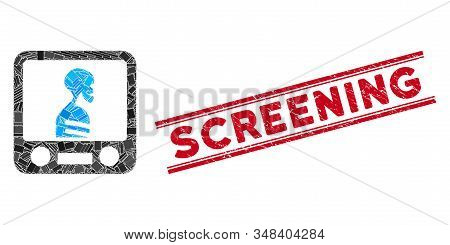 Mosaic Xray Screening Pictogram And Red Screening Stamp Between Double Parallel Lines. Flat Vector X