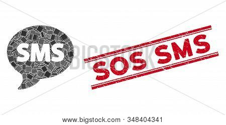 Mosaic Sms Icon And Red Sos Sms Stamp Between Double Parallel Lines. Flat Vector Sms Mosaic Icon Of