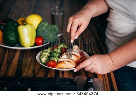 Diet Concept, Healthy Lifestyle, Low Calorie Food. Woman Dieting. Closeup Portrait Of Girl Eating He