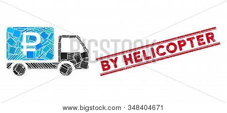 Mosaic Rouble Shipment Pictogram And Red By Helicopter Seal Between Double Parallel Lines. Flat Vect