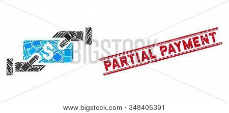 Mosaic Payment Pictogram And Red Partial Payment Stamp Between Double Parallel Lines. Flat Vector Pa