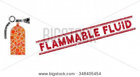 Mosaic Fire Extinguisher Pictogram And Red Flammable Fluid Seal Between Double Parallel Lines. Flat