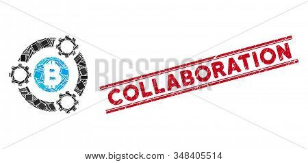 Mosaic Bitcoin Pool Collaboration Pictogram And Red Collaboration Watermark Between Double Parallel