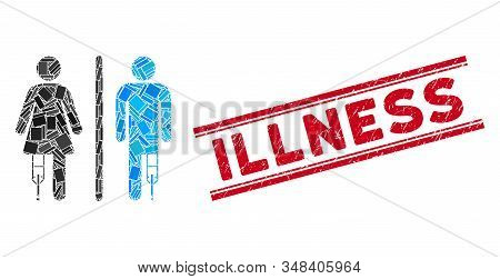 Mosaic Patient Wc Persons Pictogram And Red Illness Seal Stamp Between Double Parallel Lines. Flat V