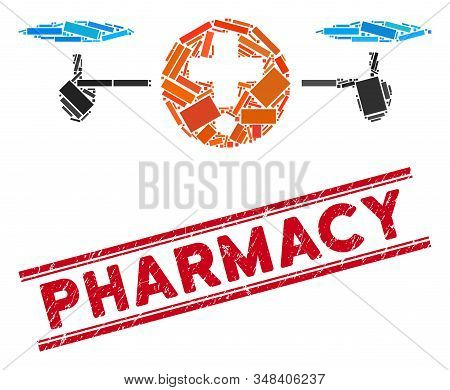 Mosaic Quadcopter Pharmacy Icon And Red Pharmacy Seal Stamp Between Double Parallel Lines. Flat Vect