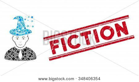 Mosaic Magic Master Pictogram And Red Fiction Seal Stamp Between Double Parallel Lines. Flat Vector