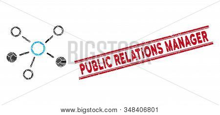 Mosaic Relations Icon And Red Public Relations Manager Seal Stamp Between Double Parallel Lines. Fla