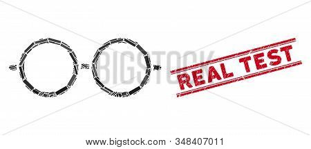 Mosaic Spectacles Pictogram And Red Real Test Watermark Between Double Parallel Lines. Flat Vector S