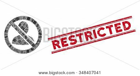Mosaic Restricted User Icon And Red Restricted Seal Between Double Parallel Lines. Flat Vector Restr