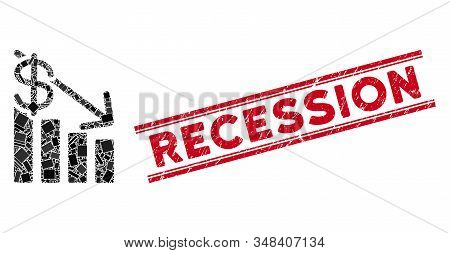 Mosaic Recession Pictogram And Red Recession Seal Stamp Between Double Parallel Lines. Flat Vector R