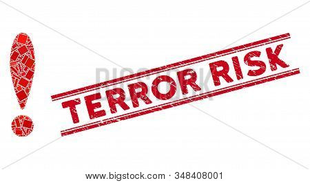 Mosaic Exclamation Sign Pictogram And Red Terror Risk Seal Stamp Between Double Parallel Lines. Flat