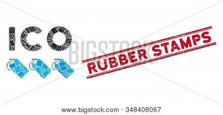 Mosaic Ico Tokens Pictogram And Red Rubber Stamps Seal Stamp Between Double Parallel Lines. Flat Vec