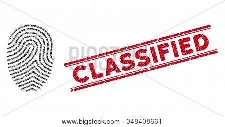 Mosaic Finger Print Pictogram And Red Classified Rubber Print Between Double Parallel Lines. Flat Ve