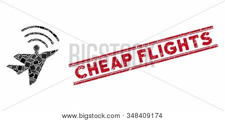 Mosaic Awacs Aircraft Icon And Red Cheap Flights Seal Between Double Parallel Lines. Flat Vector Awa