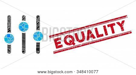 Mosaic Equalizer Icon And Red Equality Rubber Print Between Double Parallel Lines. Flat Vector Equal