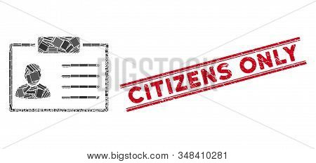Mosaic Badge Icon And Red Citizens Only Seal Stamp Between Double Parallel Lines. Flat Vector Badge