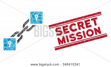 Mosaic Locker Blockchain Icon And Red Secret Mission Rubber Print Between Double Parallel Lines. Fla