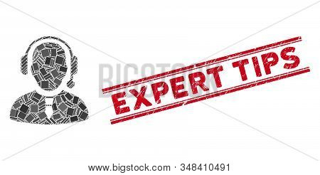 Mosaic Dispatcher Icon And Red Expert Tips Seal Between Double Parallel Lines. Flat Vector Dispatche