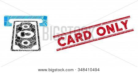 Mosaic Cashpoint Terminal Pictogram And Red Card Only Seal Stamp Between Double Parallel Lines. Flat