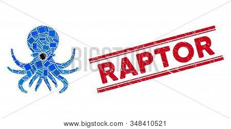 Mosaic Octopus Icon And Red Raptor Stamp Between Double Parallel Lines. Flat Vector Octopus Mosaic I