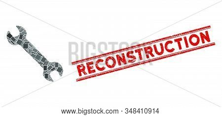 Mosaic Wrench Icon And Red Reconstruction Seal Between Double Parallel Lines. Flat Vector Wrench Mos