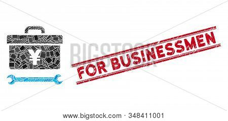 Mosaic Yen Toolbox Pictogram And Red For Businessmen Seal Stamp Between Double Parallel Lines. Flat
