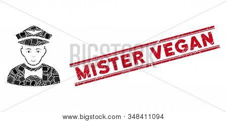 Mosaic Airline Steward Icon And Red Mister Vegan Seal Stamp Between Double Parallel Lines. Flat Vect