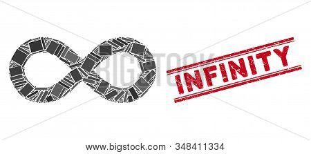 Mosaic Infinity Icon And Red Infinity Seal Between Double Parallel Lines. Flat Vector Infinity Mosai