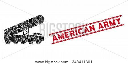 Mosaic Nuclear Rocket Launcher Icon And Red American Army Seal Between Double Parallel Lines. Flat V