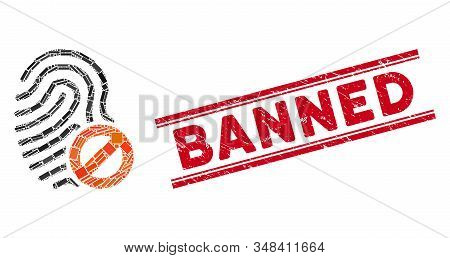Mosaic Banned Fingerprint Icon And Red Banned Seal Stamp Between Double Parallel Lines. Flat Vector