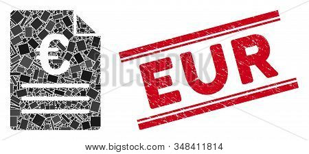 Mosaic Euro Document Icon And Red Eur Seal Between Double Parallel Lines. Flat Vector Euro Document