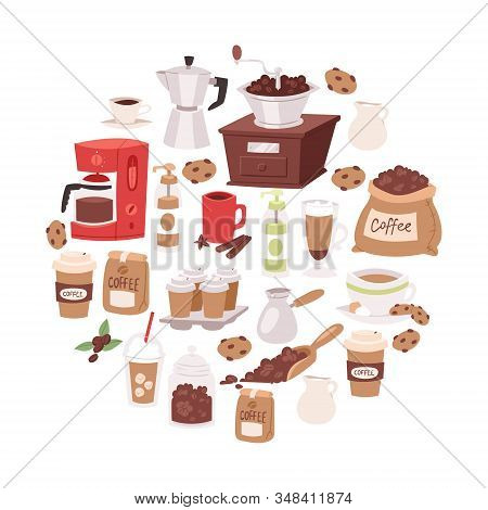Coffee Cartoon Objects Vector Illustration. Coffee Drink Symbols Collection In Circle. Beverage Mug,