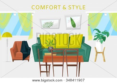 Modern Interior With Furniture Cartoon Room Vector Illustration. Living Room With Sofa, Armchairs, C
