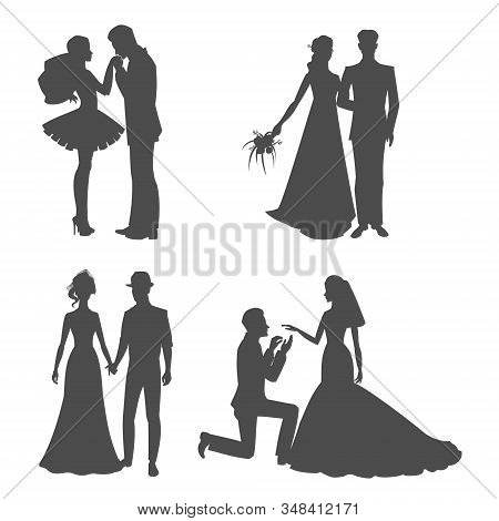 Wedding Silhouette Black Picture Of Bride And Bridegroom Holding Hands Vector Illustration. Silhoett