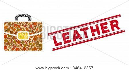 Mosaic Leather Case Pictogram And Red Leather Seal Between Double Parallel Lines. Flat Vector Leathe