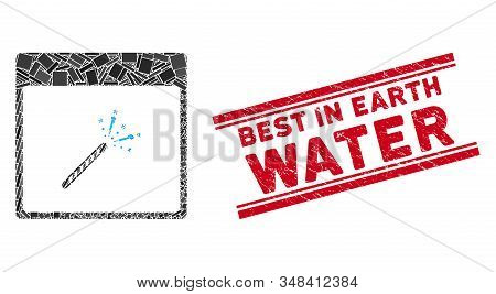Mosaic Sparkler Firecracker Calendar Page Pictogram And Red Best In Earth Water Seal Stamp Between D