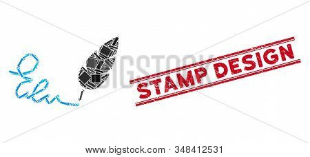 Mosaic Signature Icon And Red Stamp Design Seal Between Double Parallel Lines. Flat Vector Signature