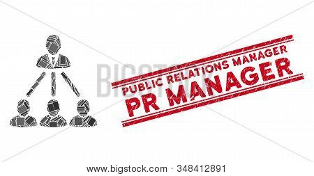 Mosaic People Organization Structure Pictogram And Red Public Relations Manager Pr Manager Stamp Bet