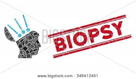 Mosaic Open Mind Interface Pictogram And Red Biopsy Seal Stamp Between Double Parallel Lines. Flat V