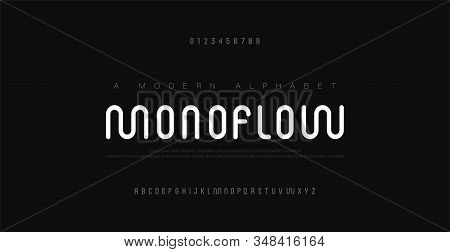 Minimal Modern Alphabet Fonts And Numbers. Abstract Urban Rounded Line Font Typography Typeface Uppe