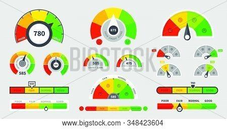 Credit Score Indicators. Level Indicator Credit Limit. Speedometer Goods Gauge Rating Meter. Vector